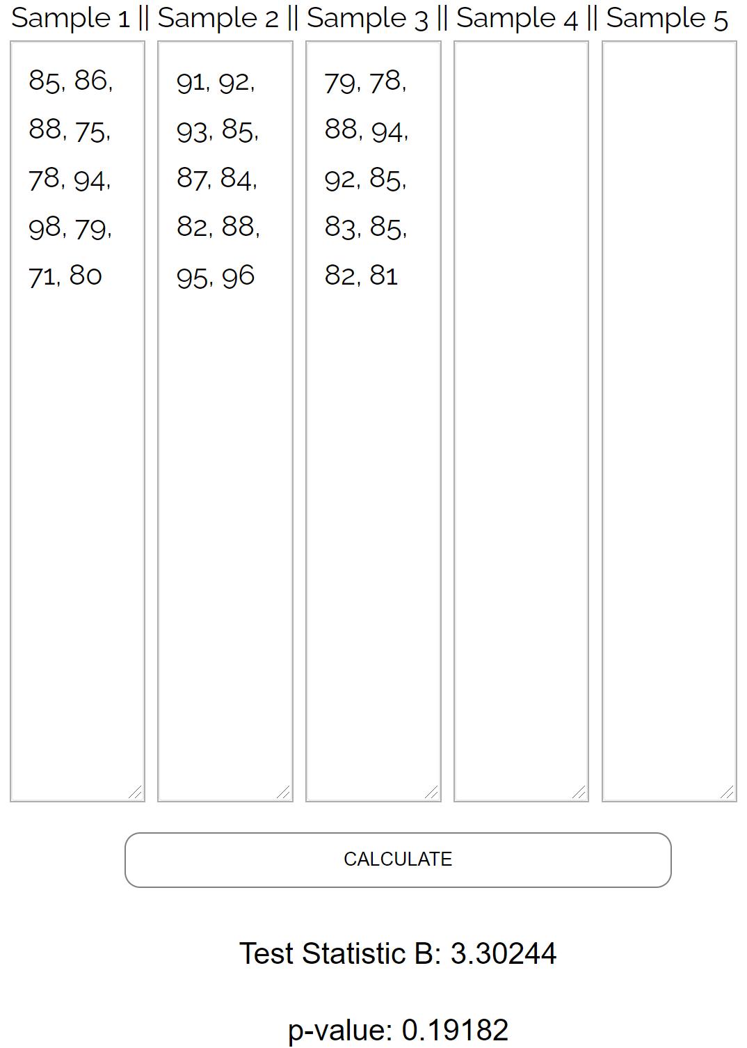 Bartlett's Test for equal variances