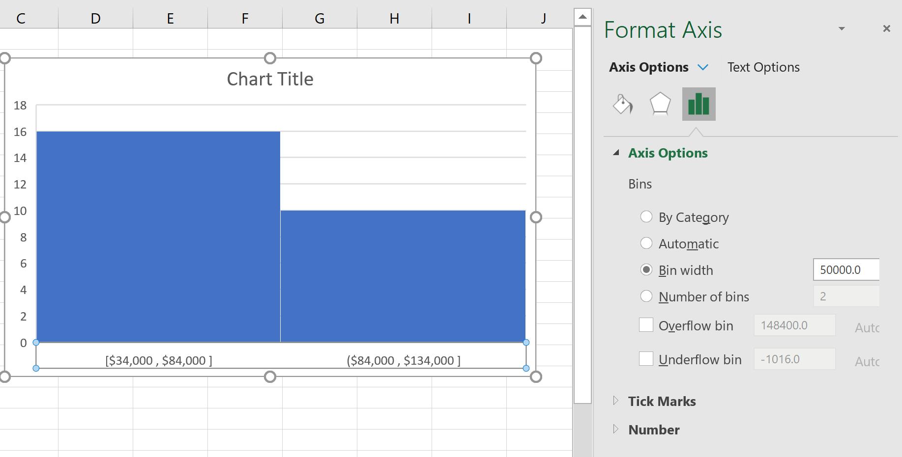 Change bin width in Excel