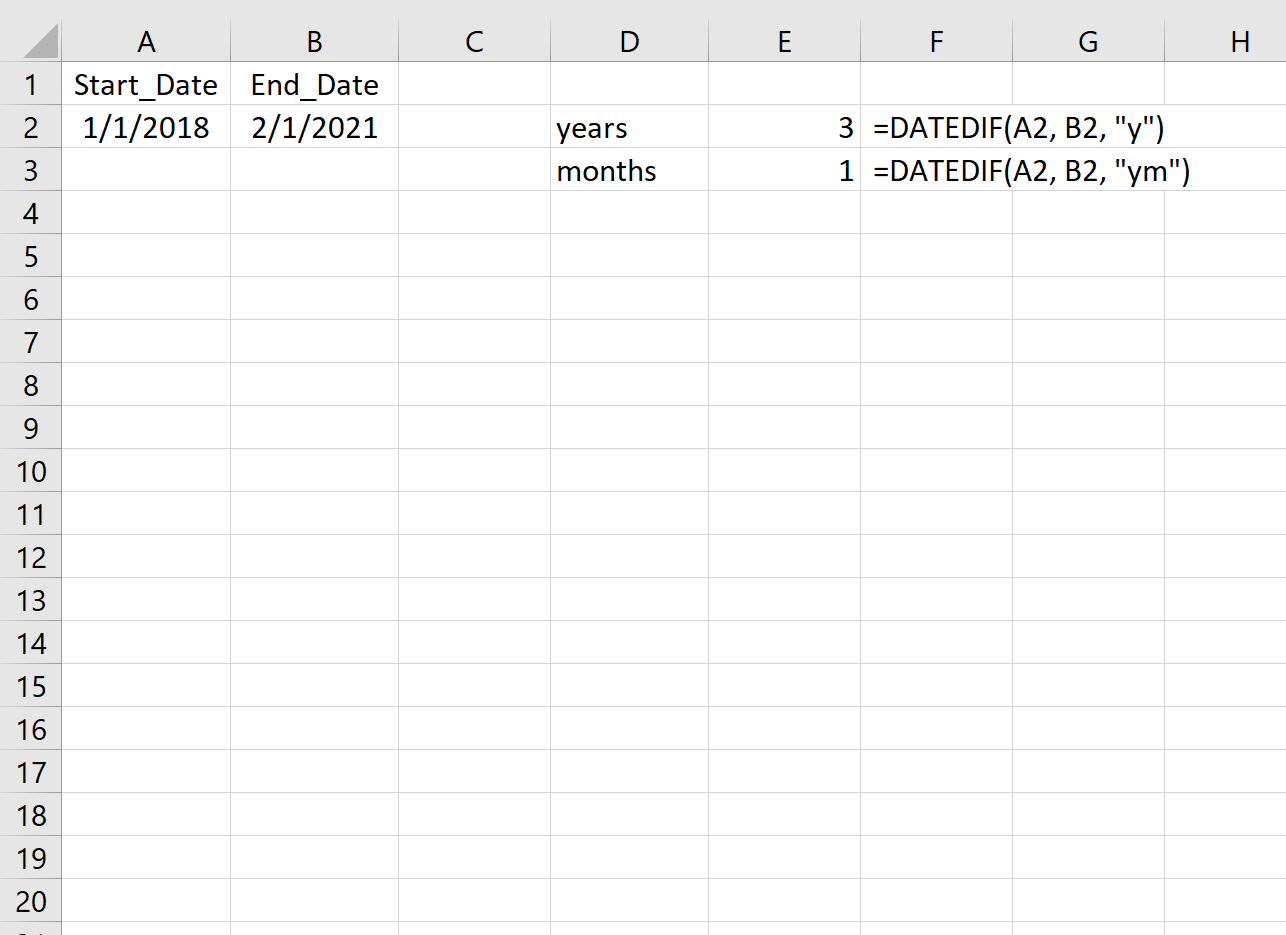 Difference in years and months between two dates in Excel