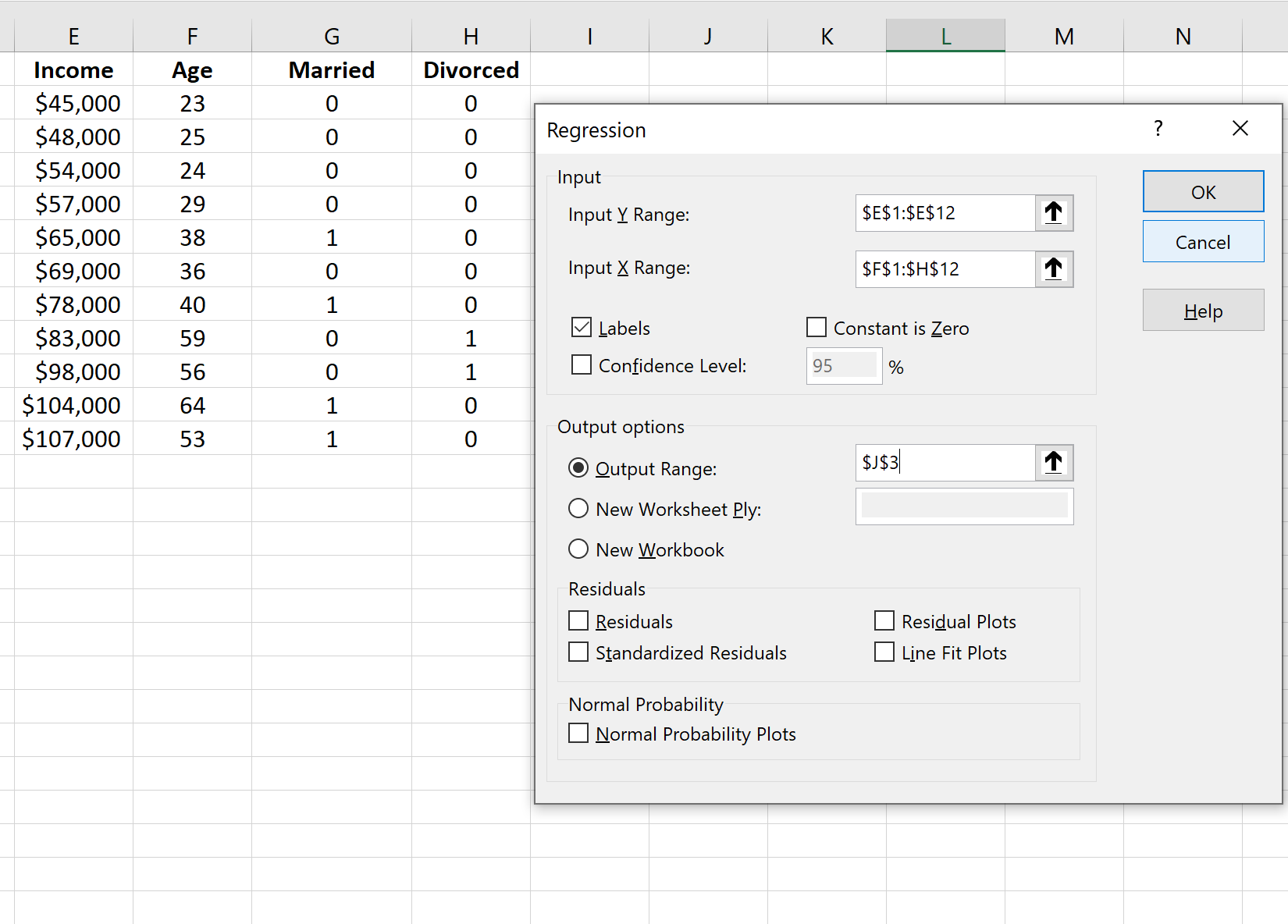 Dummy variables in regression in Excel