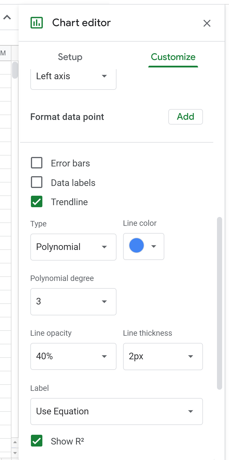 Changing the polynomial degree in Google Sheets