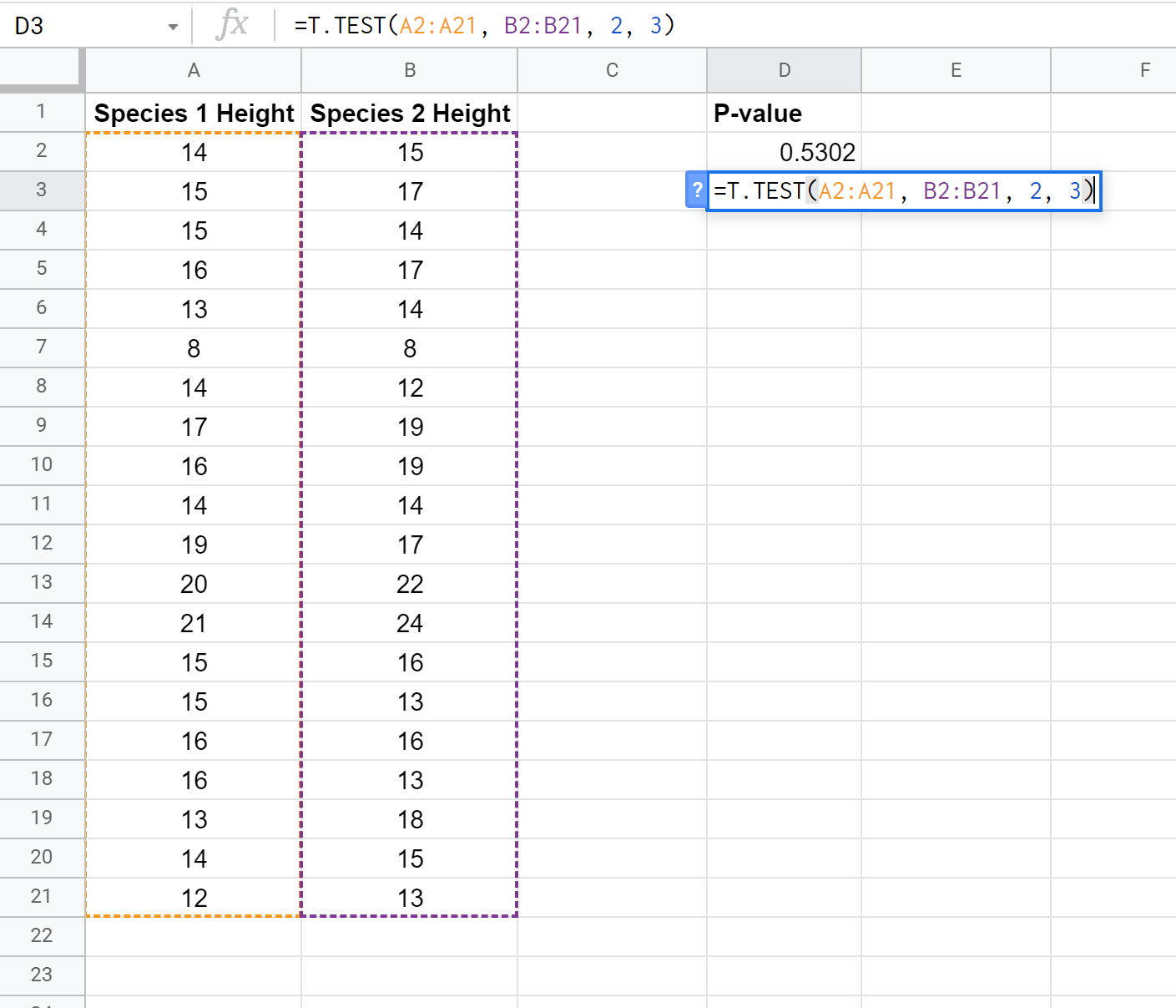 P-value example in Google Sheets