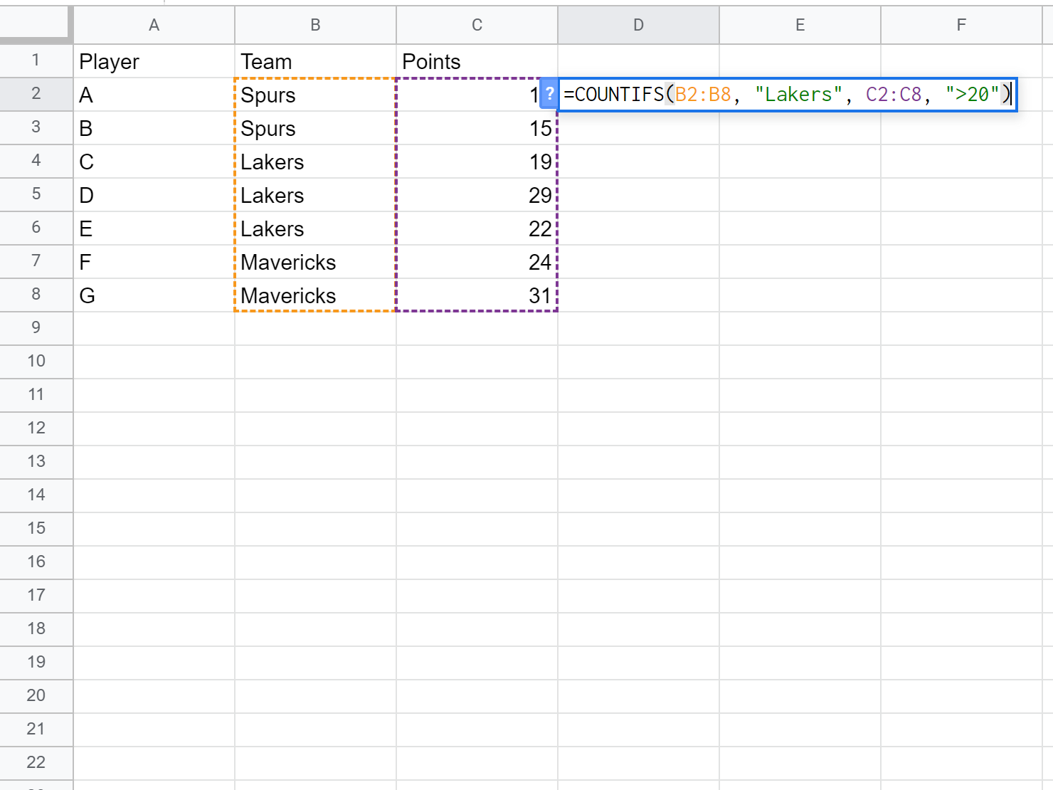 Google Sheets COUNTIF function with multiple ranges