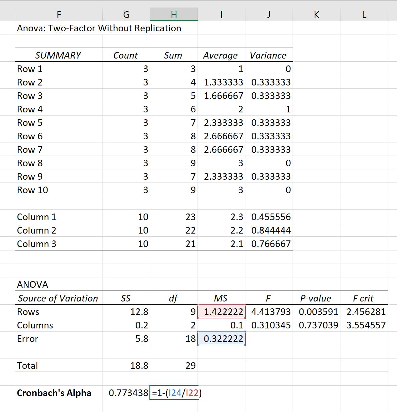 Cronbach's Alpha in Excel