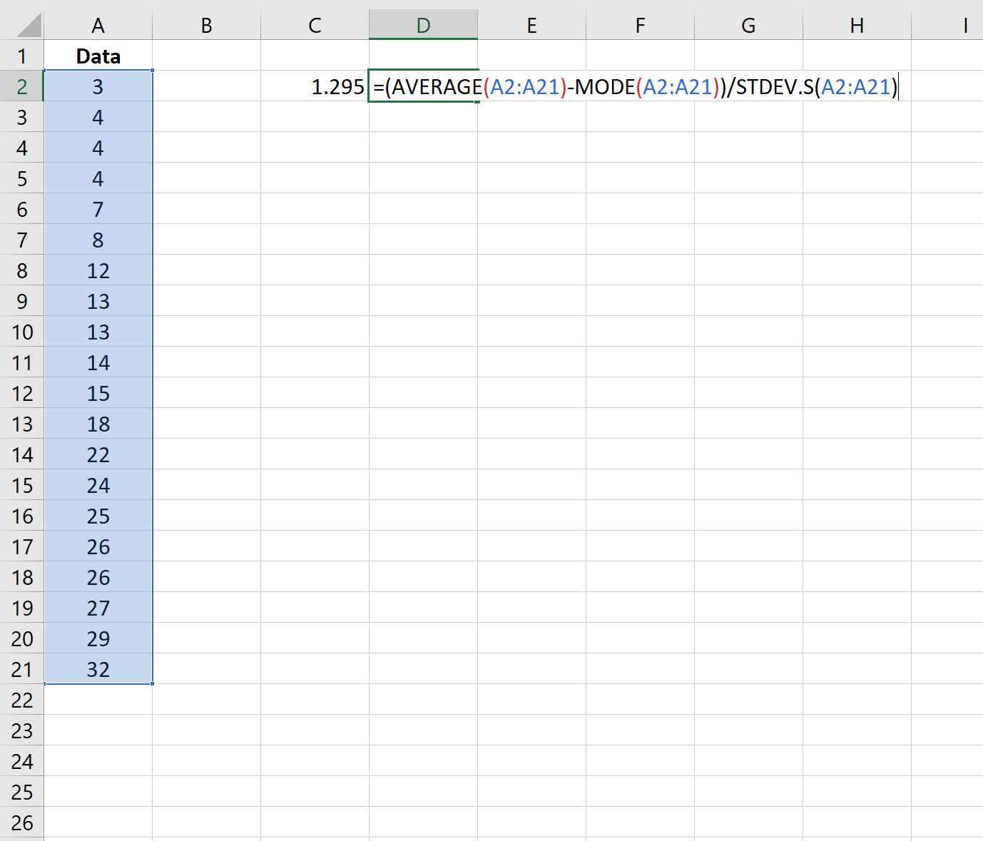 Pearson's coefficient of skewness in Excel