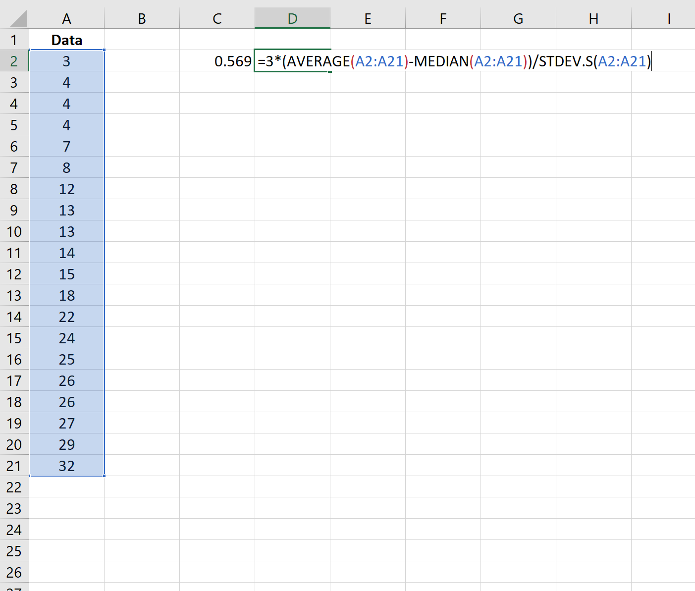 Pearson's coefficient of skewness in Excel using the median