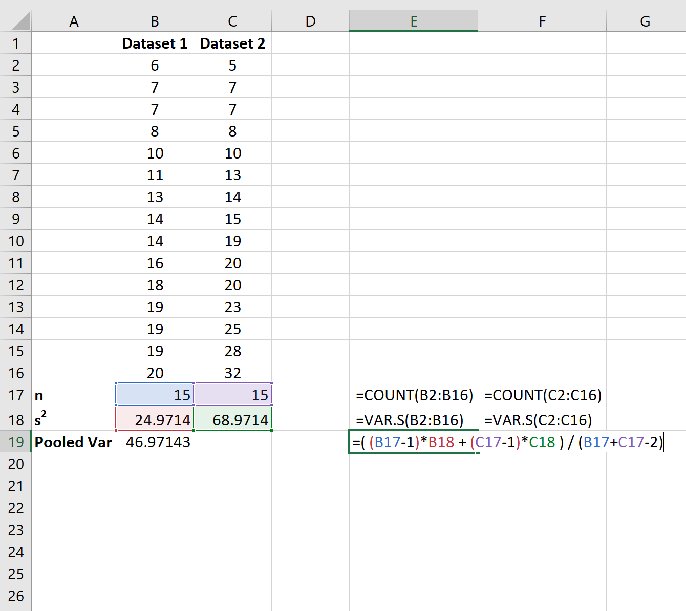 Pooled variance in Excel