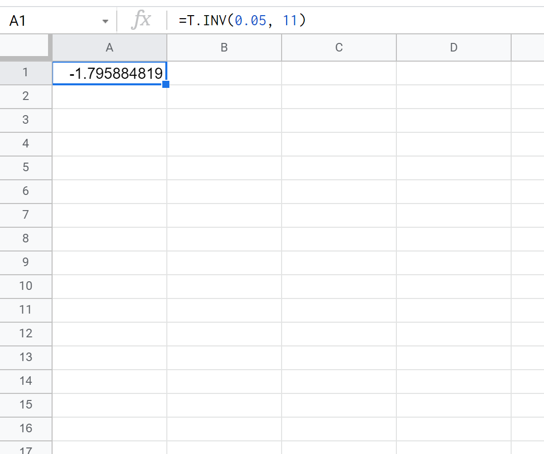 t critical value in Google Sheets