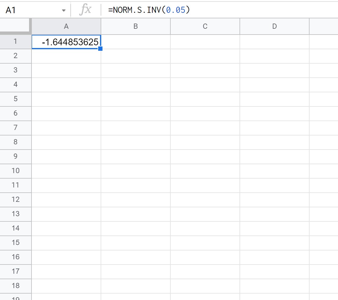 z critical value in Google Sheets
