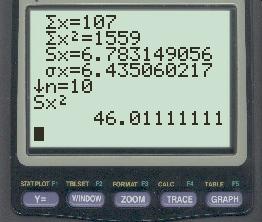 sample variance on TI-84 calculator