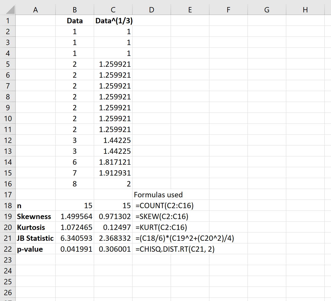 Cube root transformation in Excel