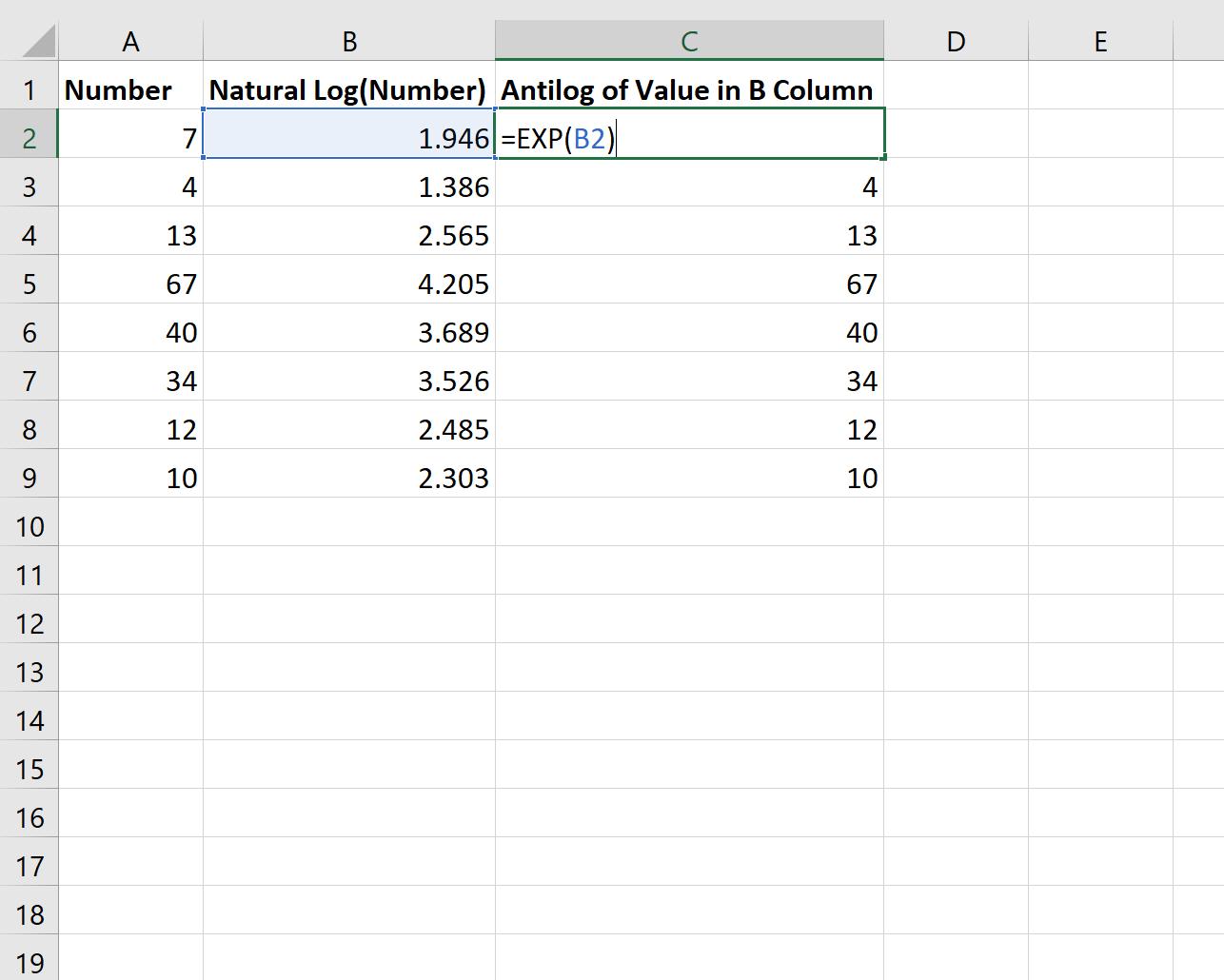 Antilog in Excel for natural logarithm