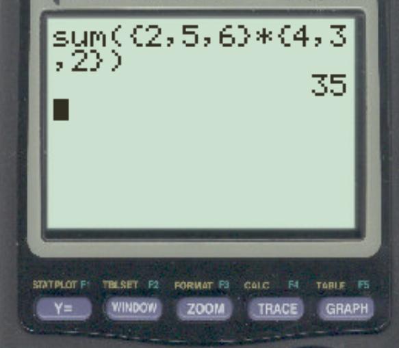 Dot product on TI-84 calculator