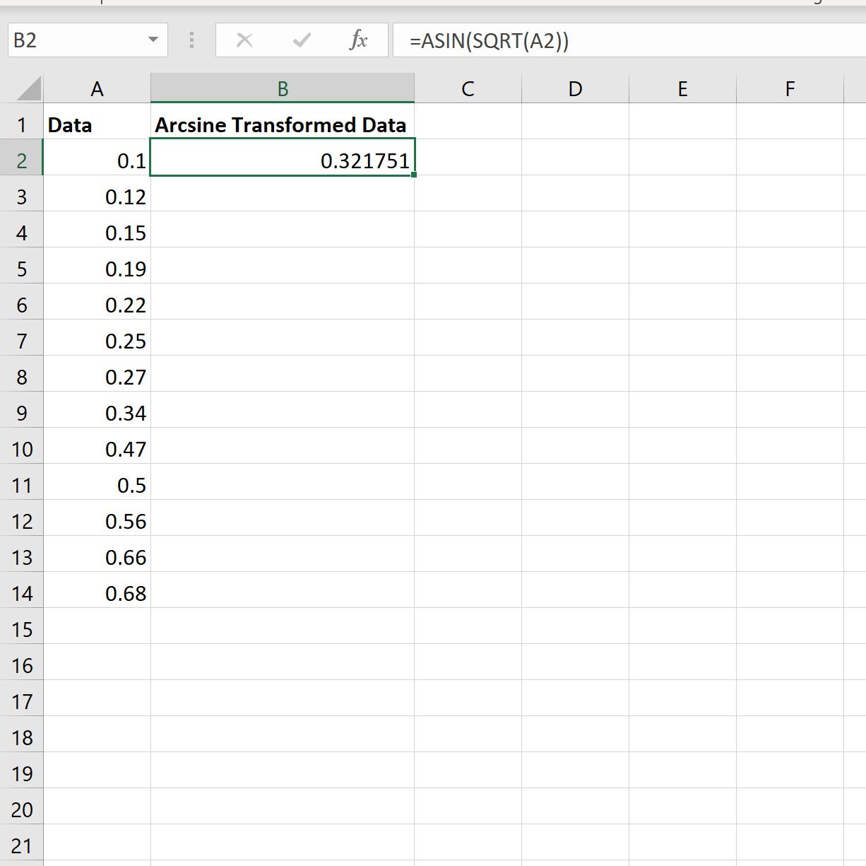 Arcsine transformation in Excel