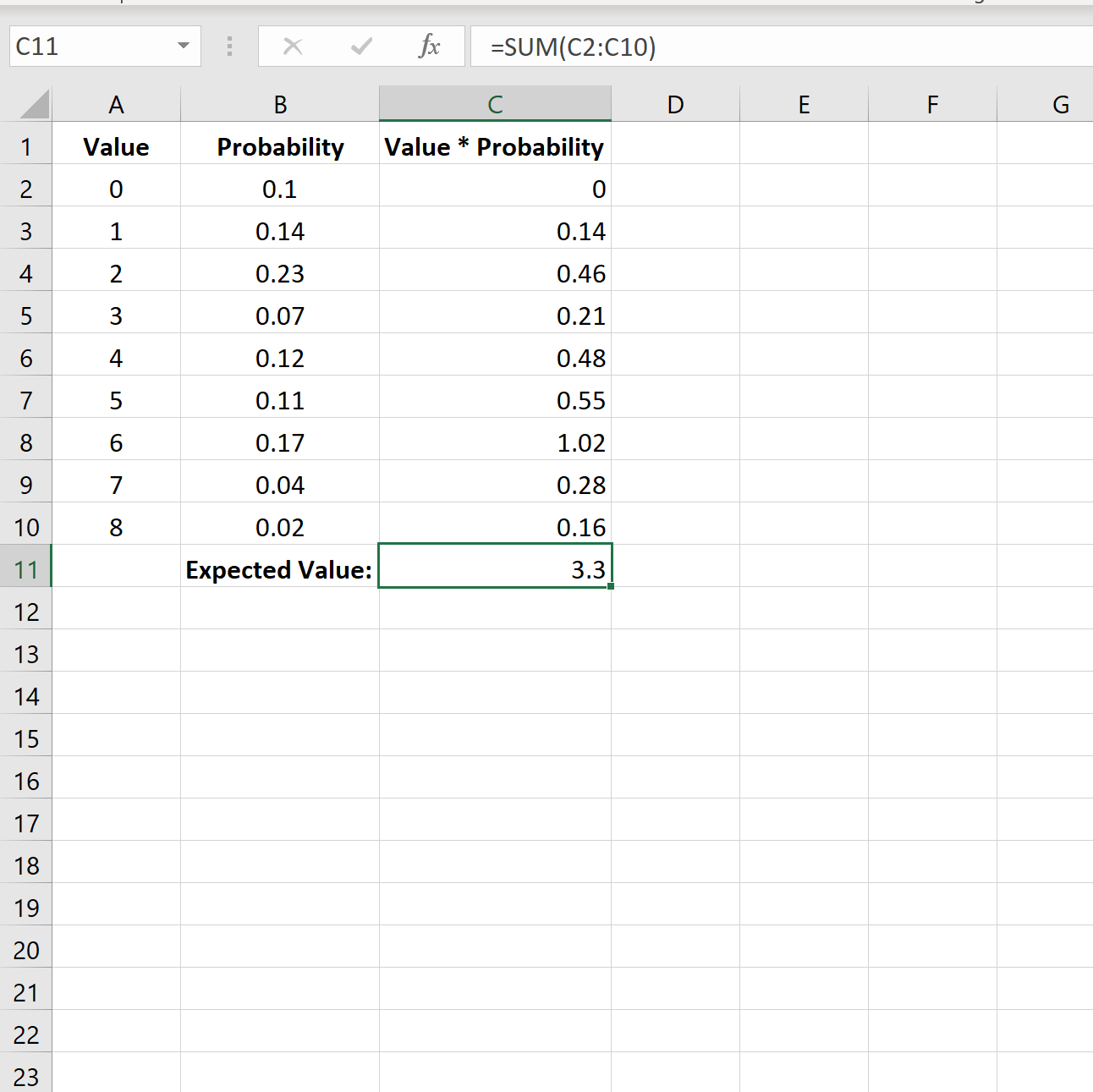 Expected value in Excel