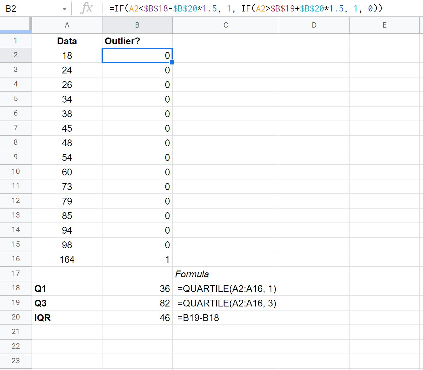 Finding outliers in Google Sheets