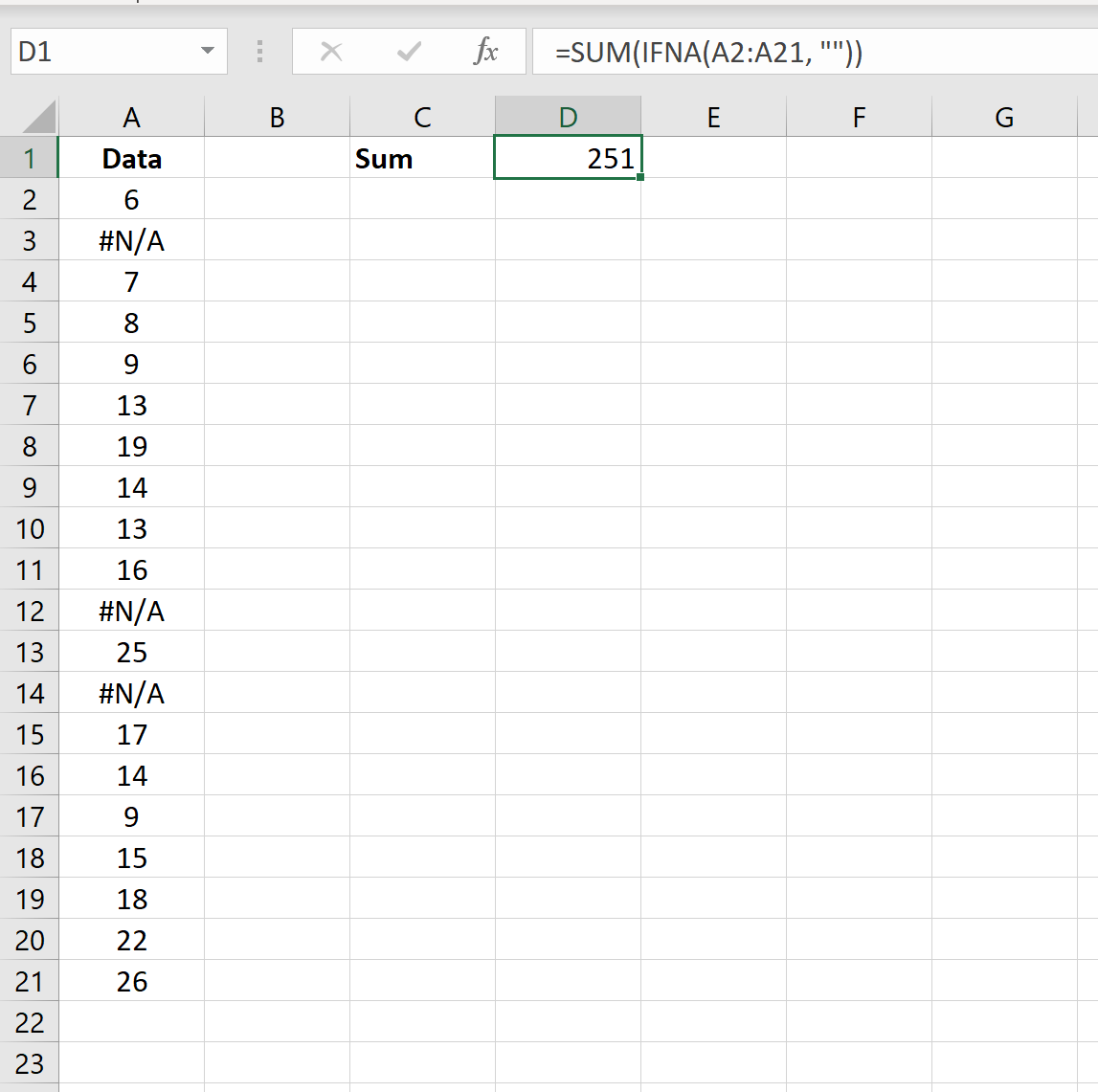 SUM in Excel and ignore NA