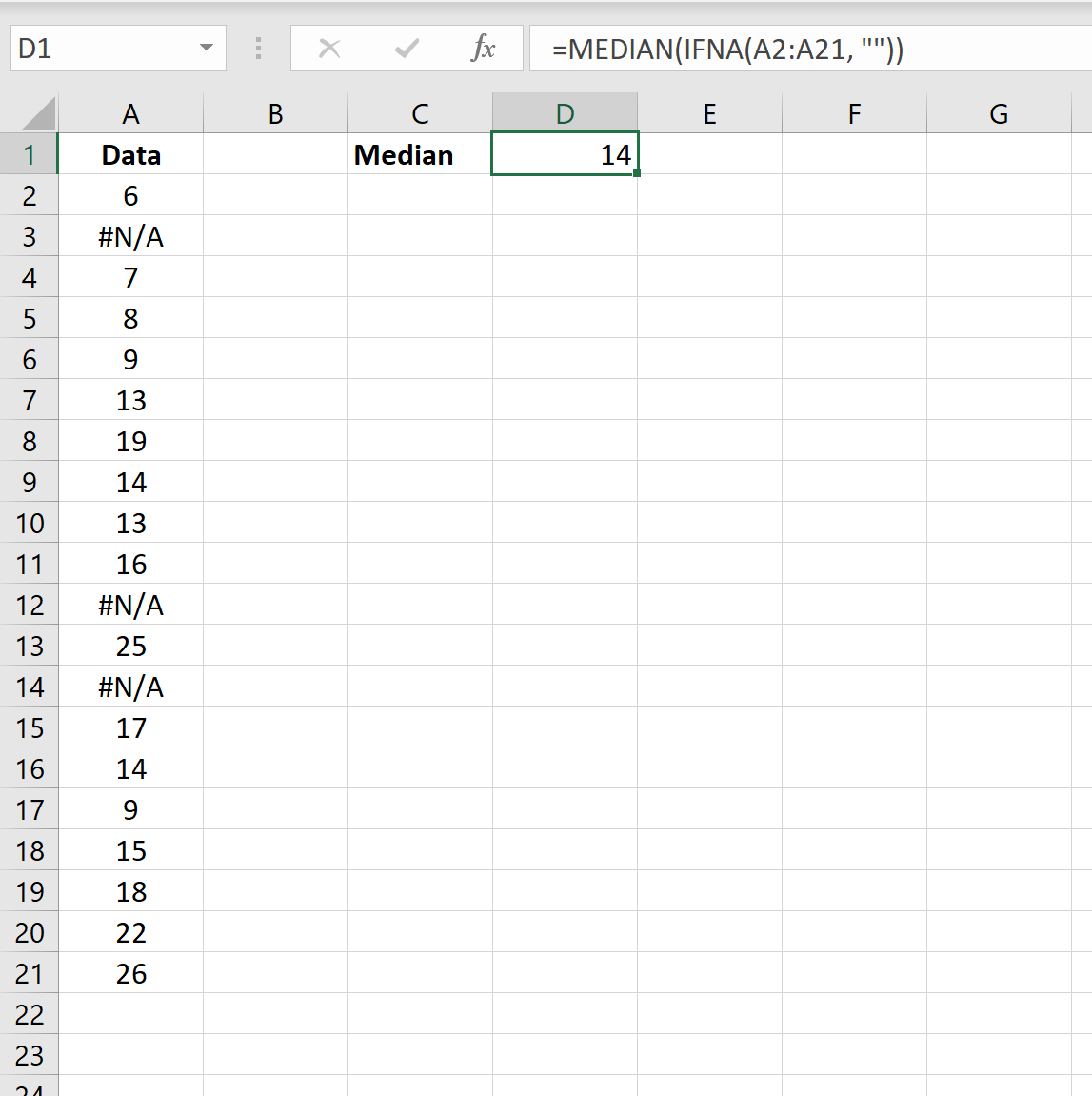 Median in Excel and ignore NA