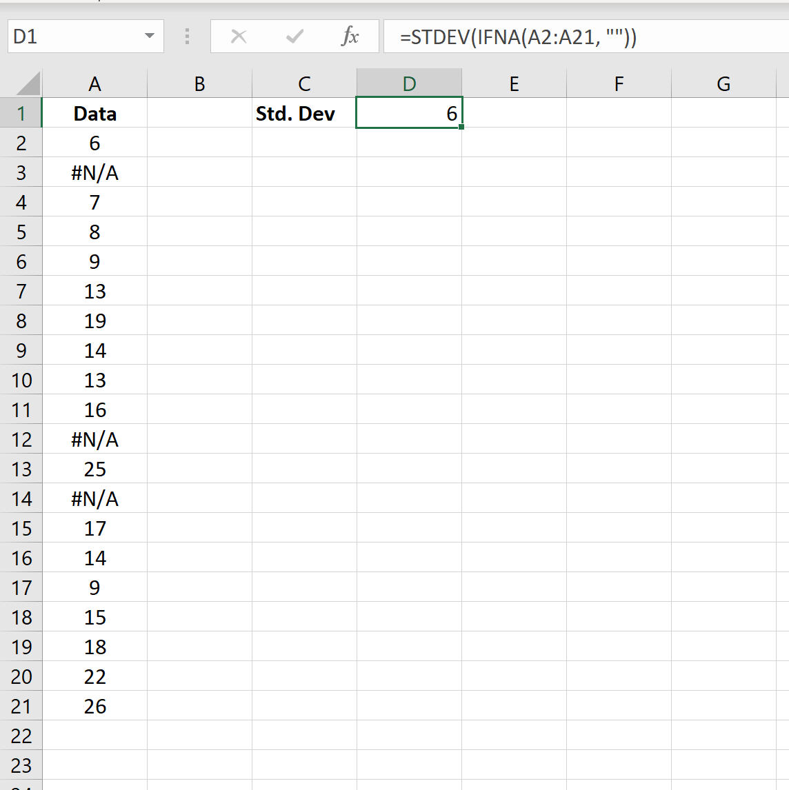 Standard deviation and ignore NA in Excel