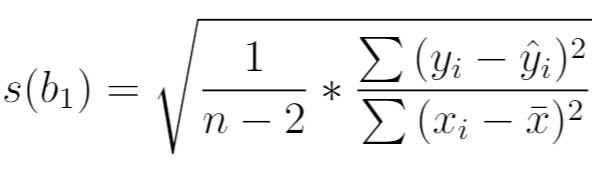 formula for standard error of regression slope